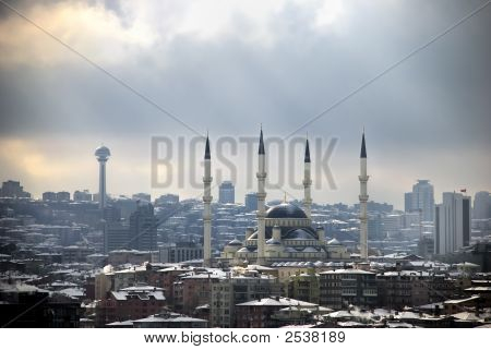Kocatepe Mosque and Atakule tower in Ankara which capital city of Turkey poster