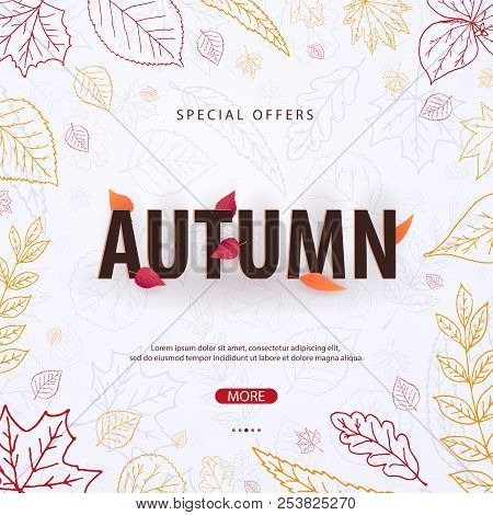 Autumn Background With Leaves For Shopping Sale Or Promo Poster And Frame Leaflet Or Web Banner. Vec