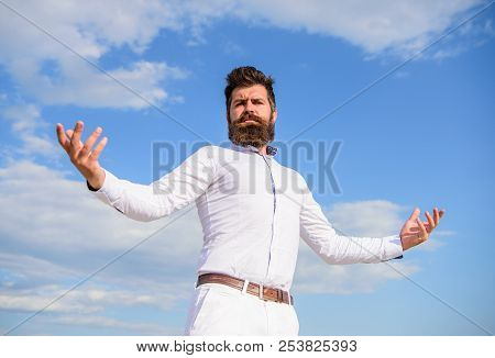Self Proud Feeling. Hipster Beard And Mustache Looks Attractive White Shirt. Guy Enjoy Top Achieveme