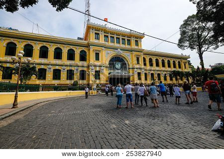 Ho Chi Minh City, Vietnam - 06, 2018: Stock Photo Of The Ho Chi Minh City Post Office, Or The Saigon
