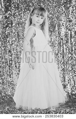 Elegance And Stylish Look. Elegance, Little Girl In Dress.