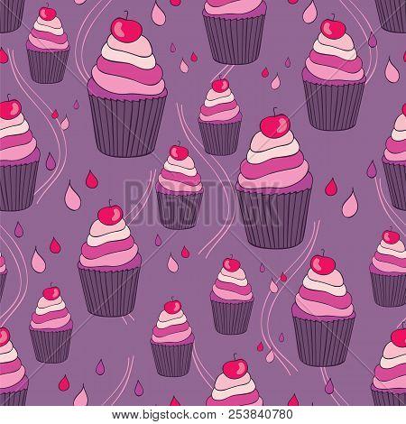 Beautiful yummy cupcake seamless background pattern. Vector illustration poster