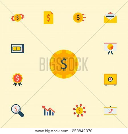 Set Of Economy Icons Flat Style Symbols With Finance News, Safe, Money Flow And Other Icons For Your