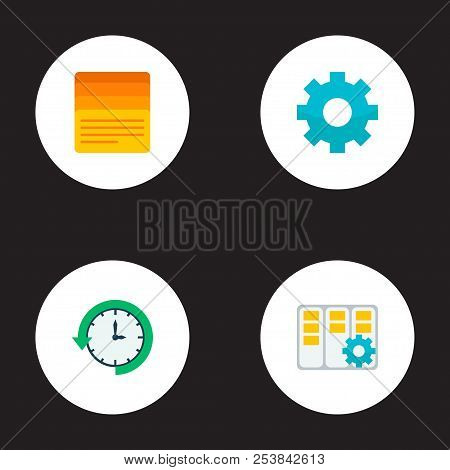 Set Of Task Manager Icons Flat Style Symbols With Task Manager, Log Time, Setting And Other Icons Fo