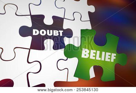 Doubt Vs Belief Faith Hope Puzzle Words 3d Illustration
