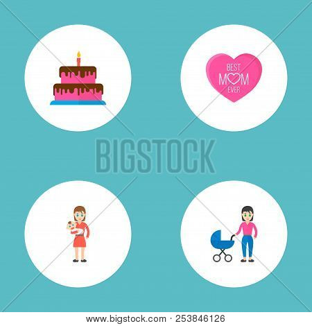 Happy Mother's Day Icon Flat Layout Design With Best Mother Ever, Baby And Perambulator Symbols. Lov