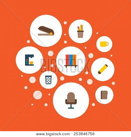Set Of Workspace Icons Flat Style Symbols With Bookshelf, Pencil Stand, Wastebasket Icons For Your W