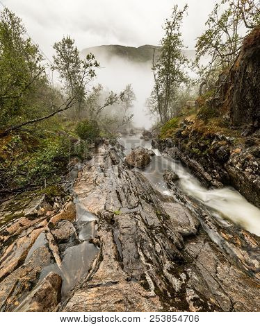 Beautiful View Of The Voringsfossen Waterfall. Bjoreio River . National Park Hardangervidda, Eidfjor