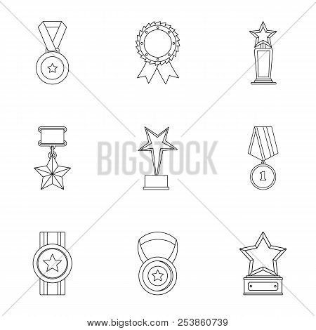 Merit icons set. Outline set of 9 merit icons for web isolated on white background poster