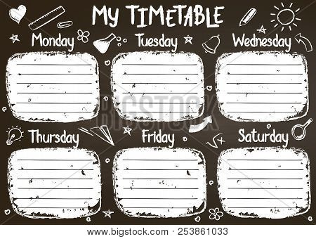 School Timetable Template On Chalk Board  With Hand Written Chalk Text. Weekly Lessons Shedule In Sk