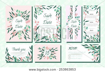 Floral Wedding Invite With Vector Eucalyptus Leaves, Forest Herbs, Elegant Decorative Flowers. Vinta