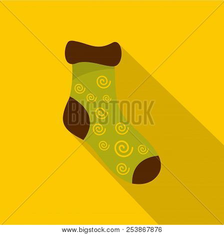 One Sock Icon. Flat Illustration Of One Sock Icon For Web