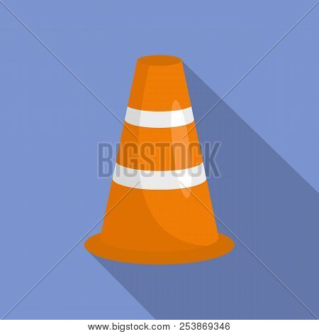 Caution Cone Icon. Flat Illustration Of Caution Cone Icon For Web