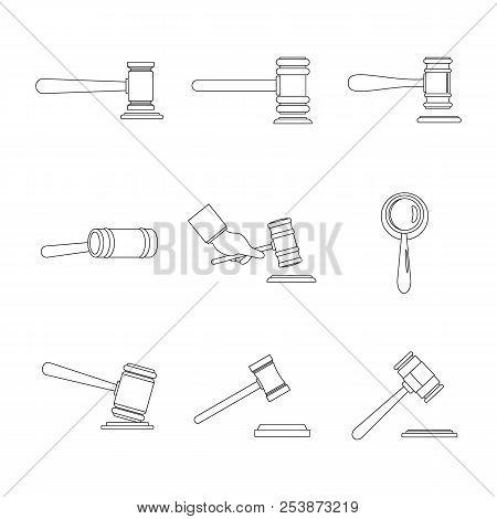 Judge Hammer Icons Set. Outline Illustration Of 9 Judge Hammer Icons For Web