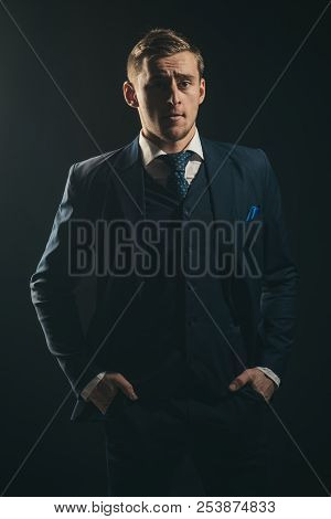 Fashion Concept. Businessman In Fashion Suit. Fashion Man With Formal Style. Young Fashion Model. Ke