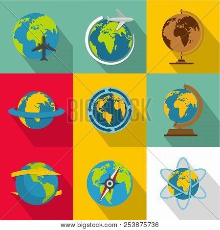 Planetary Environment Icons Set. Flat Set Of 9 Planetary Environment Icons For Web Isolated On White