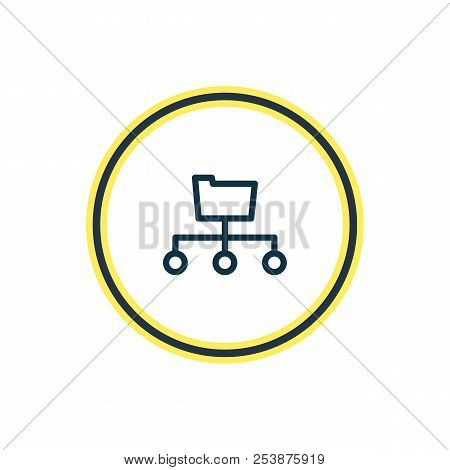 Vector illustration of directory submission icon line. Beautiful advertising element also can be used as folder structure icon element. poster
