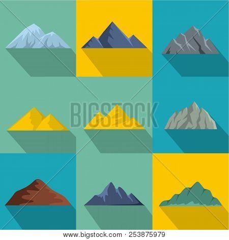 Highest Peak Icons Set. Flat Set Of 9 Highest Peak Icons For Web Isolated On White Background
