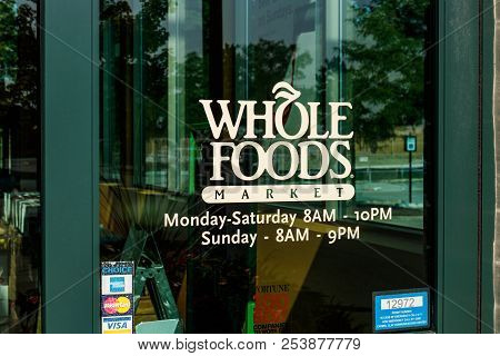 Westfield - Circa August 2018: Whole Foods Market. Amazon Is Expanding Whole Foods Delivery In Diffe
