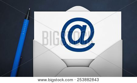 3d illustration of an envelope with an email sign