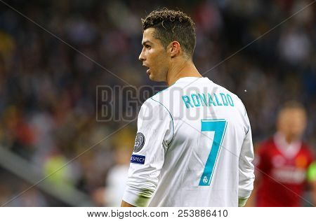 Kyiv, Ukraine - May 26, 2018: Portrait Of Real Madrid Player Cristiano Ronaldo During The Uefa Champ