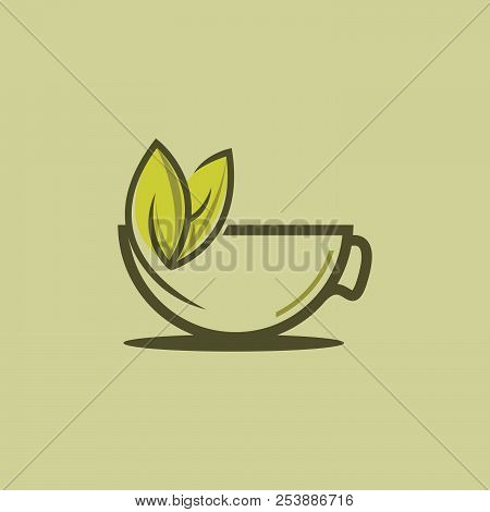 Herbal Green Tea Cup Logo, Herbal Drink Logo,green Leaf With Mug Logo, Green Leaf With Tea Cup Logo