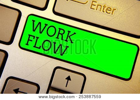 Writing Note Showing Work Flow. Business Photo Showcasing Continuity Of A Certain Task To And From A