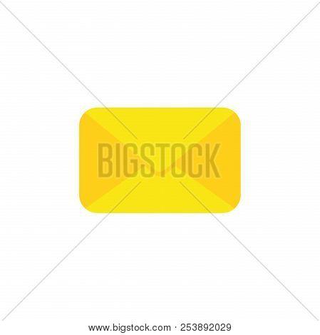 Flat Design Style Vector Illustration Of Yellow Closed Envelope Symbol Icon On White Background.