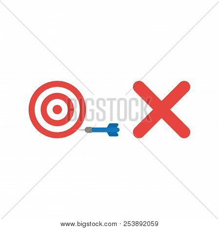 Flat Design Style Vector Illustration Concept Of Red And White Bulls Eye With Blue Dart In The Side