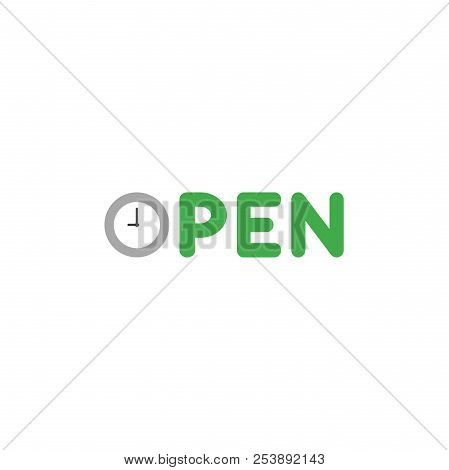 Flat Design Style Vector Concept Of Open Text With Clock Time Shows 9 O'clock