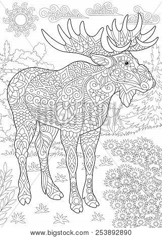 Coloring Page. Coloring Book. Colouring Picture With Moose. Antistress Freehand Sketch Drawing With