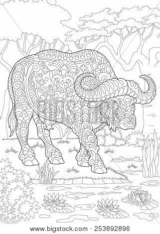 Coloring Page. Coloring Book. Colouring Picture With Bull (buffalo, Bison). Antistress Freehand Sket