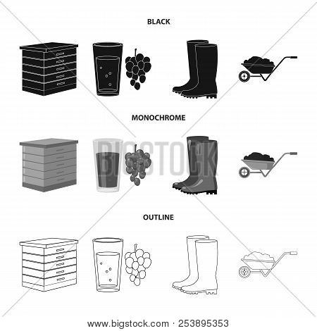 Hive, Grapes, Boots, Wheelbarrow.farm Set Collection Icons In Black, Monochrome, Outline Style Vecto