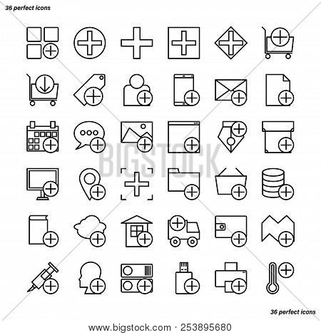 Add Outline Icons Perfect Pixel. Use For Website, Template,package, Platform. Concept Business Objec