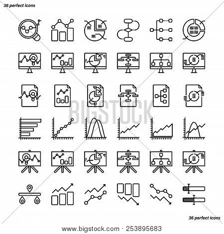 Analytics Outline Icons Perfect Pixel. Use For Website, Template,package, Platform. Concept Business