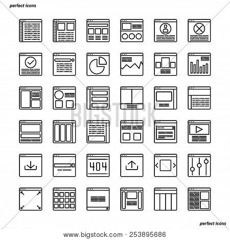 Website User Interface Outline Icons Perfect Pixel. Use For Website, Template,package, Platform. Con