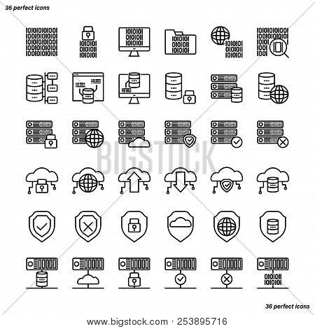 Data Management Outline Icons Perfect Pixel. Use For Website, Template,package, Platform. Concept Bu
