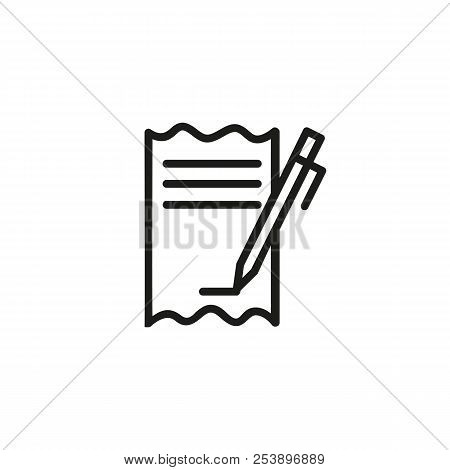 Pen Signing Bill Line Icon. Cheque, Paycheck, Transaction. Credit Card Concept. Vector Illustration