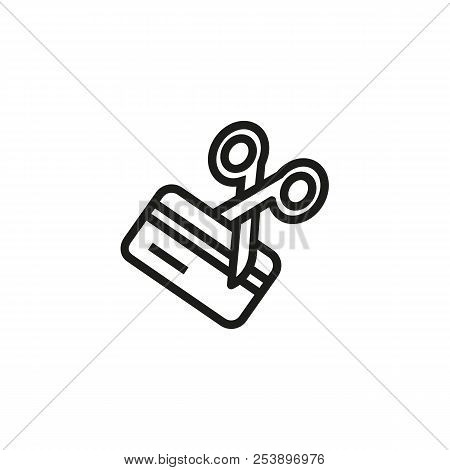 Scissors Cutting Credit Card Line Icon. Debt, Expired Credit Card, Loan. Credit Card Concept. Vector