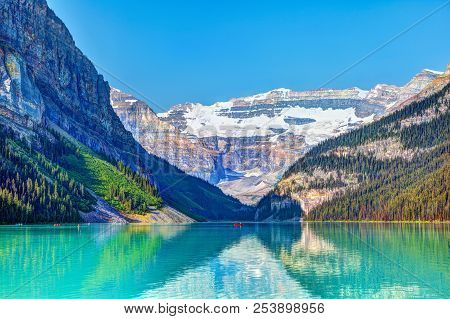 Lake Louise With Mount Victoria Glacier In Banff National Park