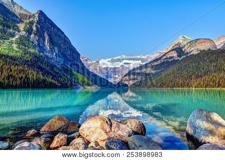 Lake Louise In Banff National Park With Its Glacier-fed Turquoise Lakes And Mount Victoria Glacier I