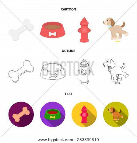 A Bone, A Fire Hydrant, A Bowl Of Food, A Pissing Dog.dog Set Collection Icons In Cartoon, Outline,