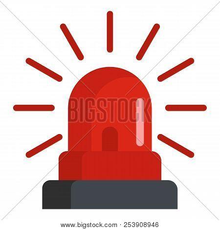 Caution Siren Icon. Flat Illustration Of Caution Siren Icon For Web