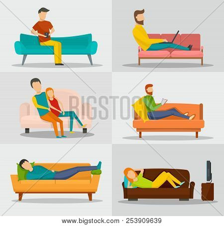 Sofa Chair Room Couch Banner Concept Set. Flat Illustration Of 6 Sofa Chair Room Couch Banner Horizo