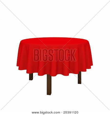 Empty Red Round Table.