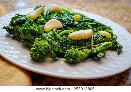 Sauteed Broccoli Rabe With Sweet Garlic Garlic