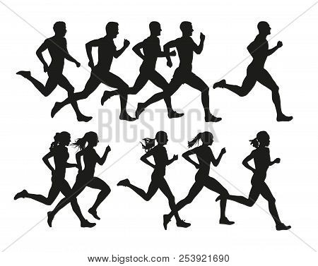 poster of Running people, vector isolated silhouettes. Run, men and women