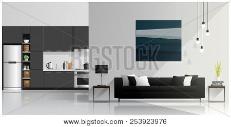Interior Design With Modern Living Room And Kitchen Background , Vector , Illustration