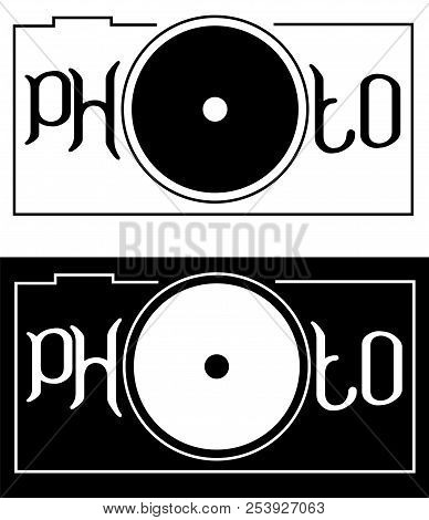 Inscription Photo With The Letter In The Form Of A Camera Lens Minimalism Logo