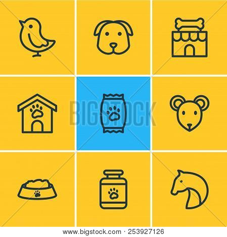Vector Illustration Of 9 Pet Icons Line Style. Editable Set Of Pet Medicine, Dog, Pet Shop And Other